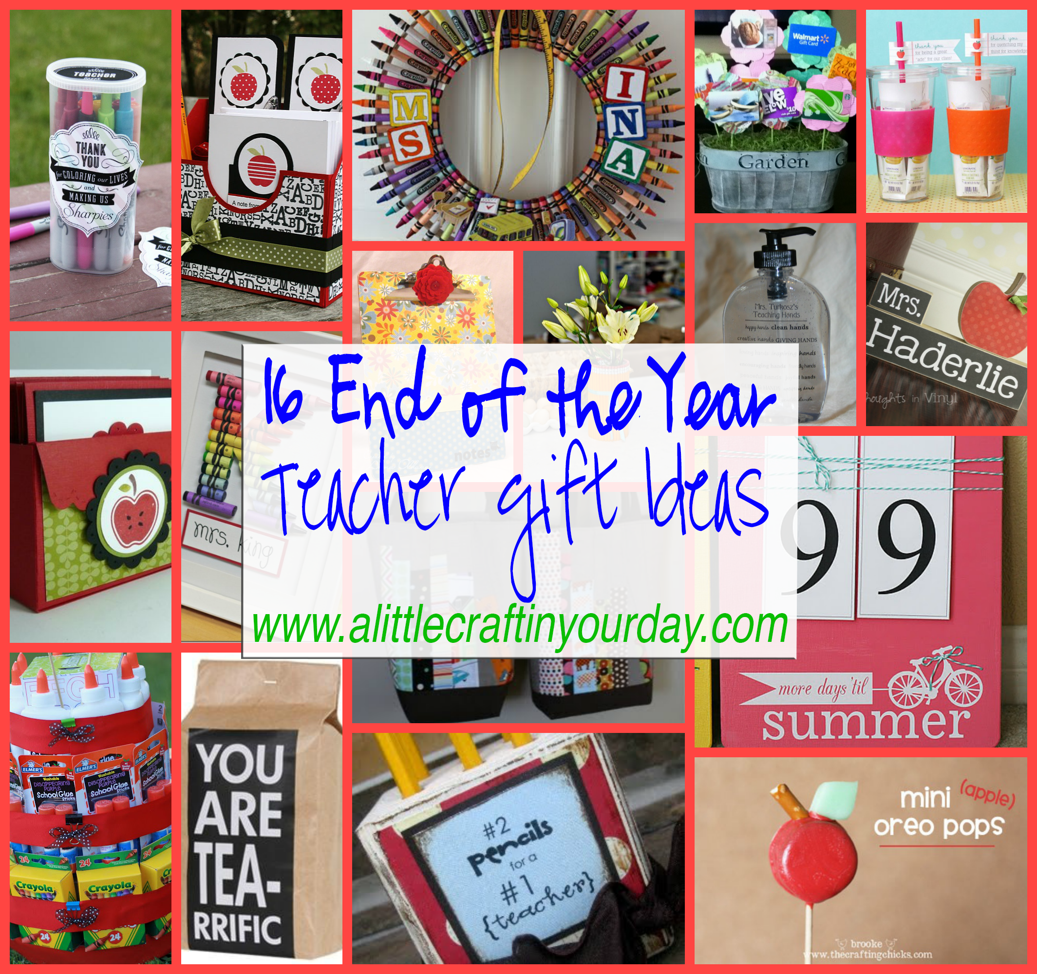 math worksheet : 16 end of the year teacher gift ideas  a little craft in your  : Homemade Christmas Gifts For School Teachers