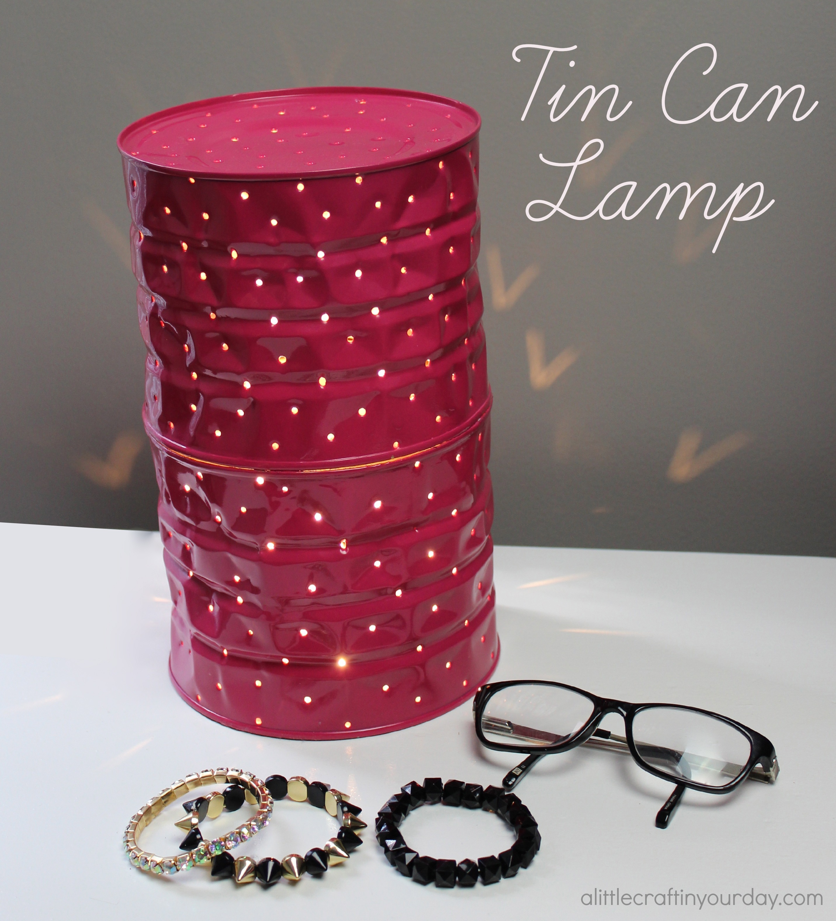 Tin can lamp a little craft in your day for Tin cans for crafts
