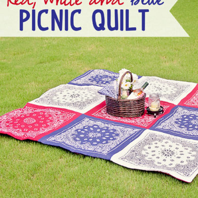 Double Sided Red White and Blue Picnic Quilt thumbnail
