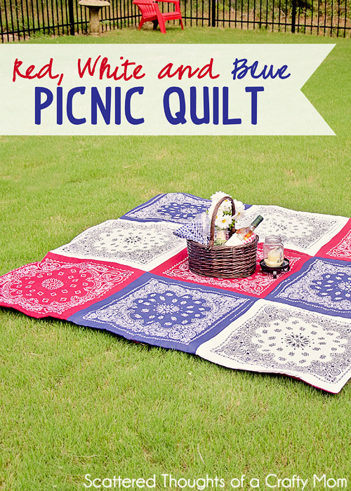 Double Sided Red White and Blue Picnic Quilt
