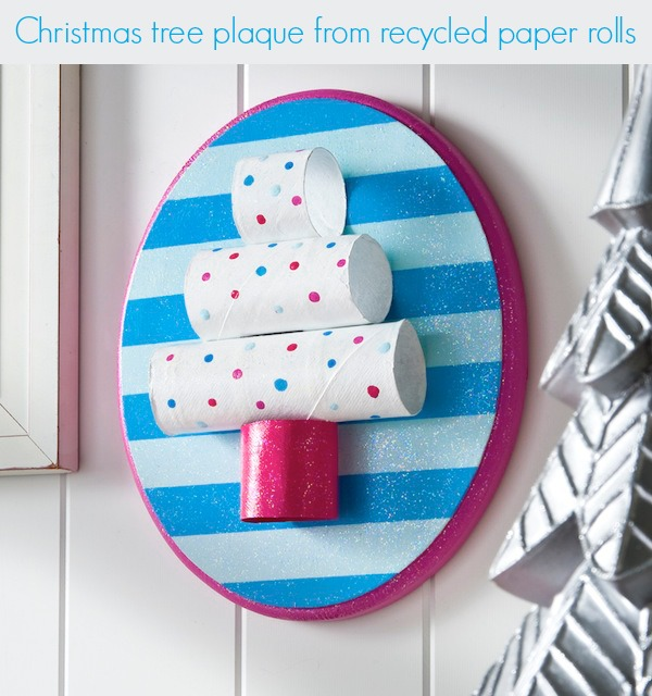 Easy-kids-craft-recycled-toilet-paper-roll-Christmas-tree-plaque