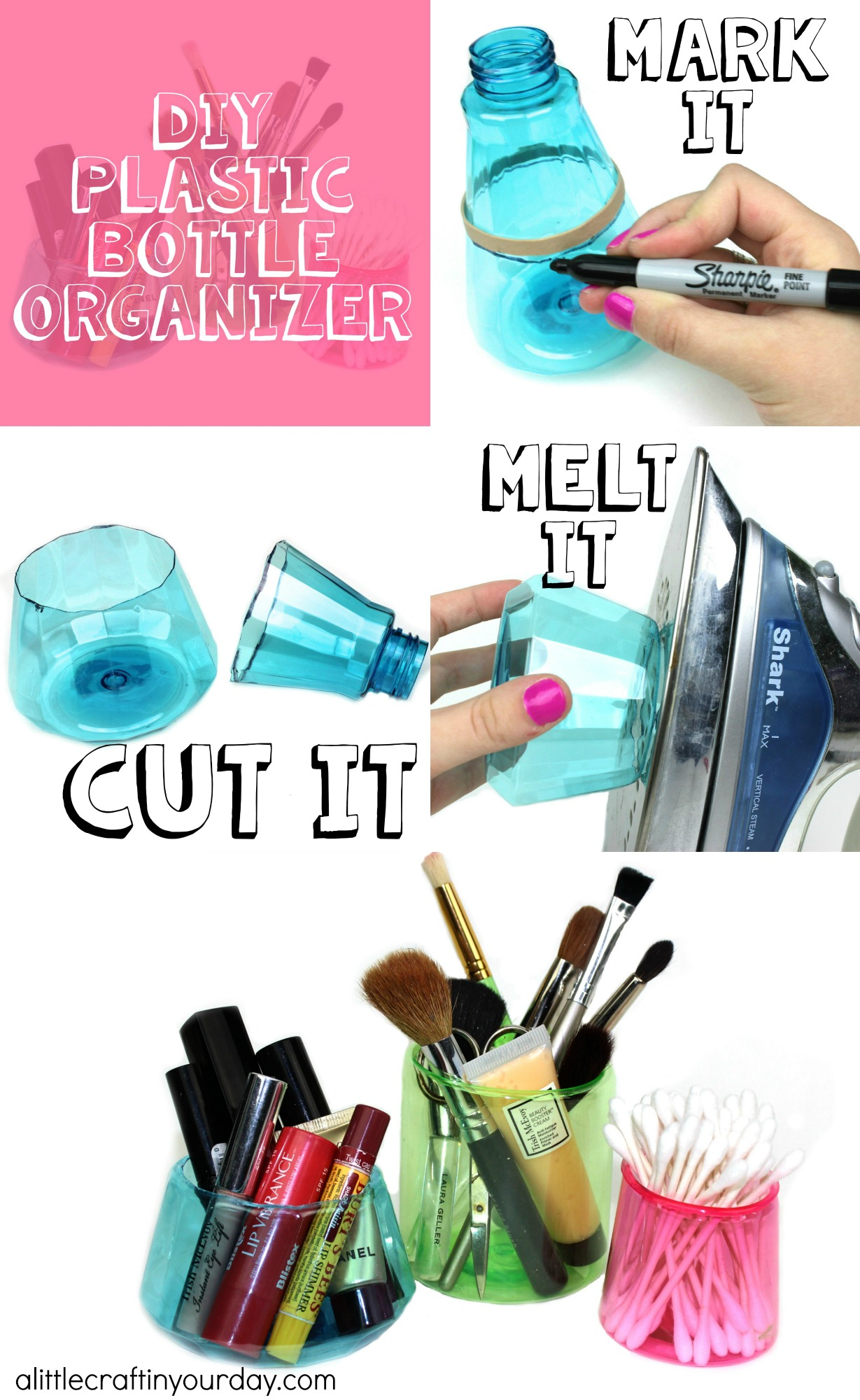 Diy plastic bottle organizer a little craft in your day for Plastic bottle storage