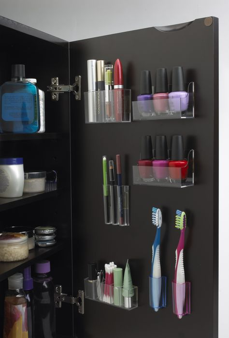 Inside Cabinet Makeup Storage · 784277f70ad5be21b19a48b988b14bdd & 16 DIY Makeup Organization Ideas - A Little Craft In Your Day