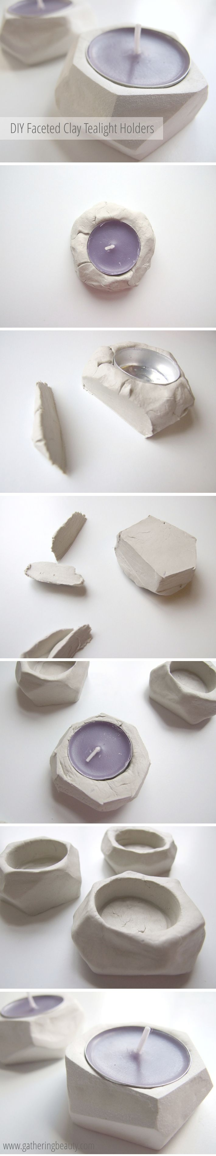 diy faceted clay tealight holders a little craft in your day