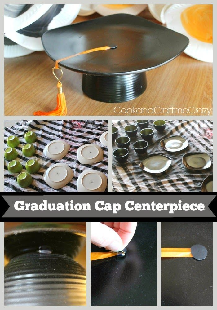 Recycled dishes graduation cap centerpieces · 18eb7f54346ea8fe6b76f1c8135f78c7