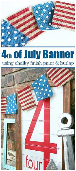 4th of July Chalky Finish Burlap Banner - 1
