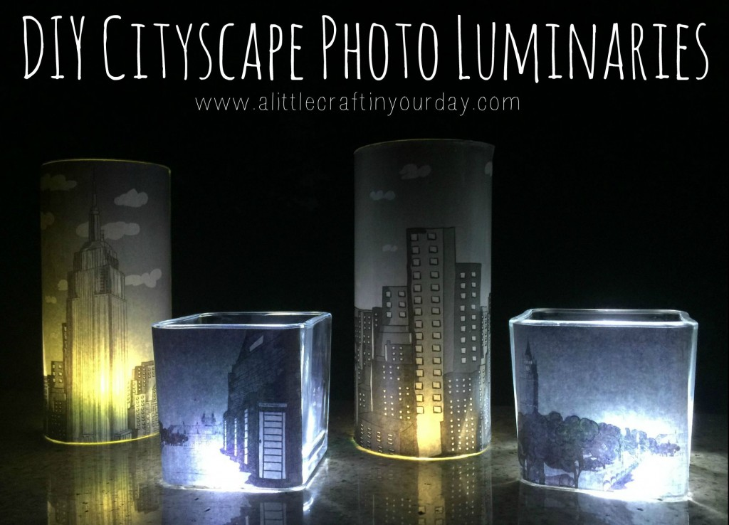 diy cityscape photo luminaries