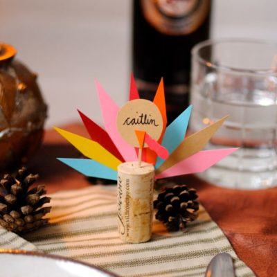 Wine Cork Turkey Place Cards thumbnail