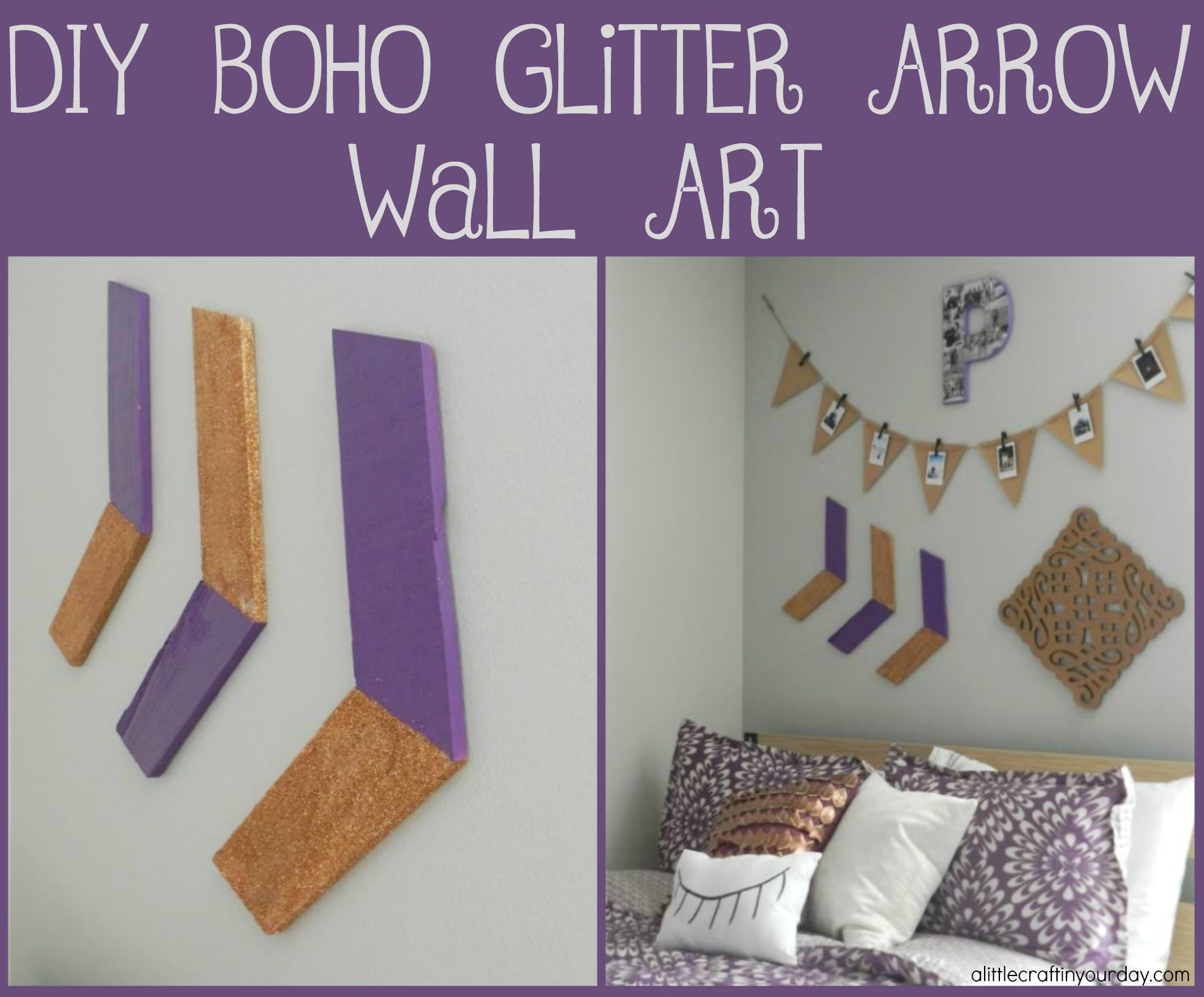Glitter Wall Art diy boho glitter arrow wall art - a little craft in your day