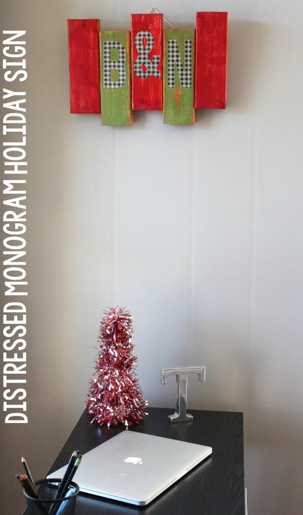 Distressed Monogram Holiday Sign