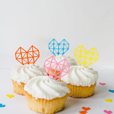 DIY Geometric Heart Cake Toppers thumbnail