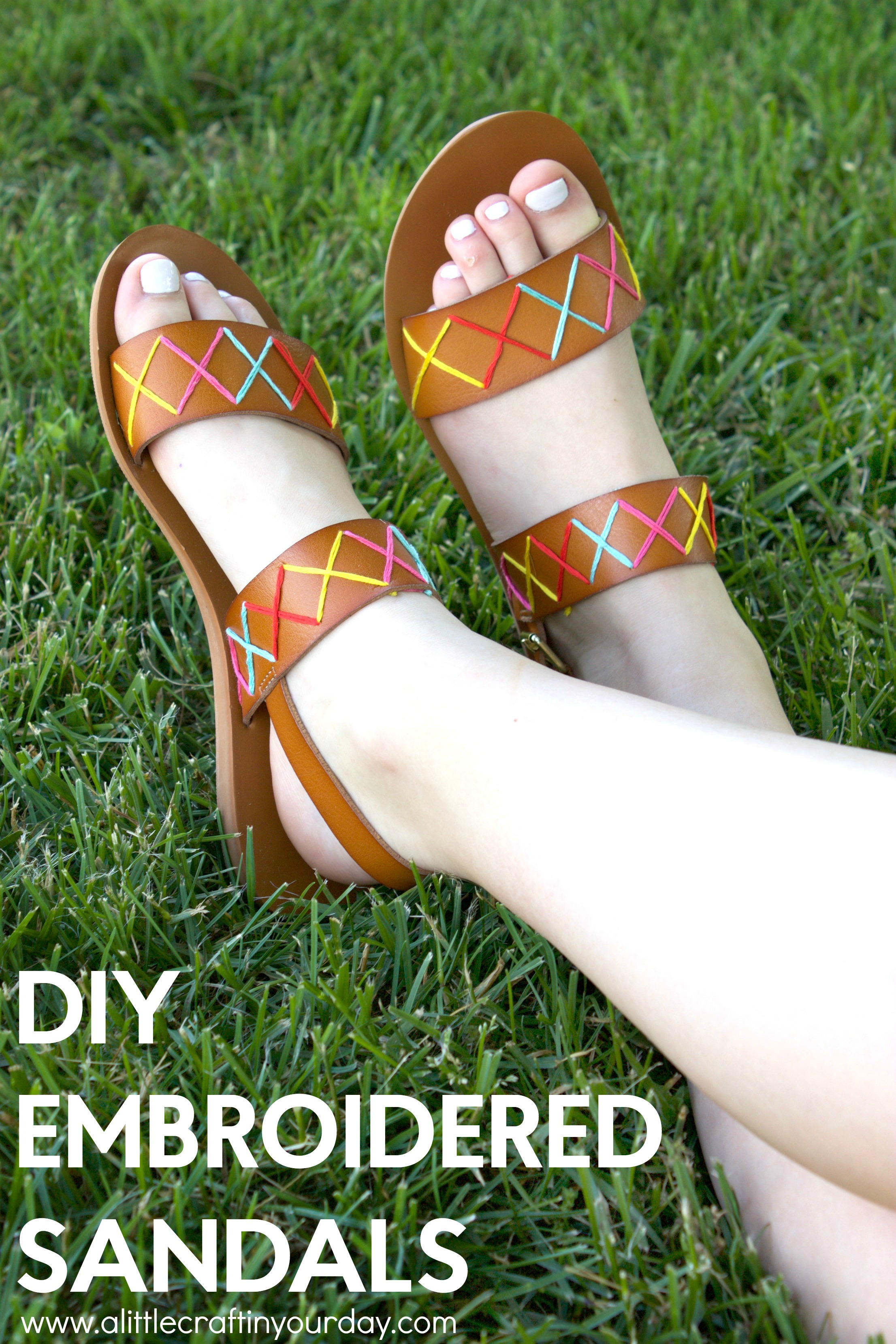 DIY Embroidered Sandals - A Little Craft In Your Day
