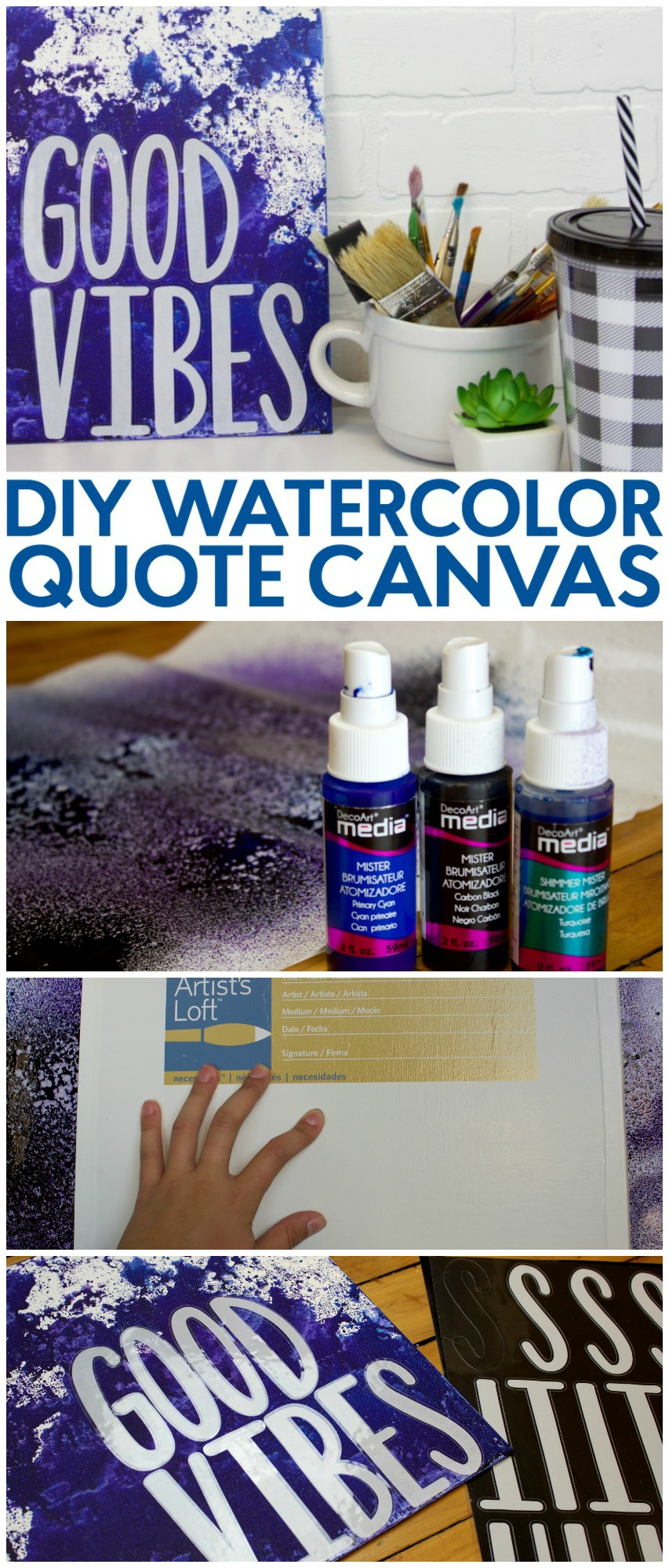 Diy watercolor quote canvas a little craft in your daya for Diy room decor quotes