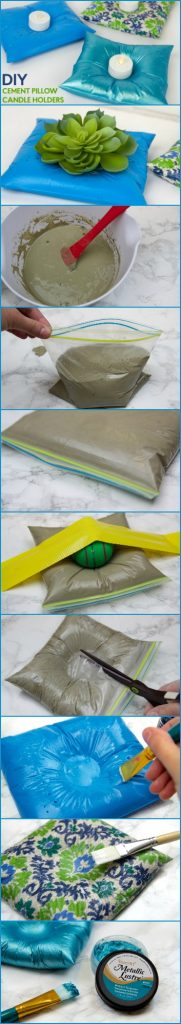 DIY_cement_pillows_candles_holders