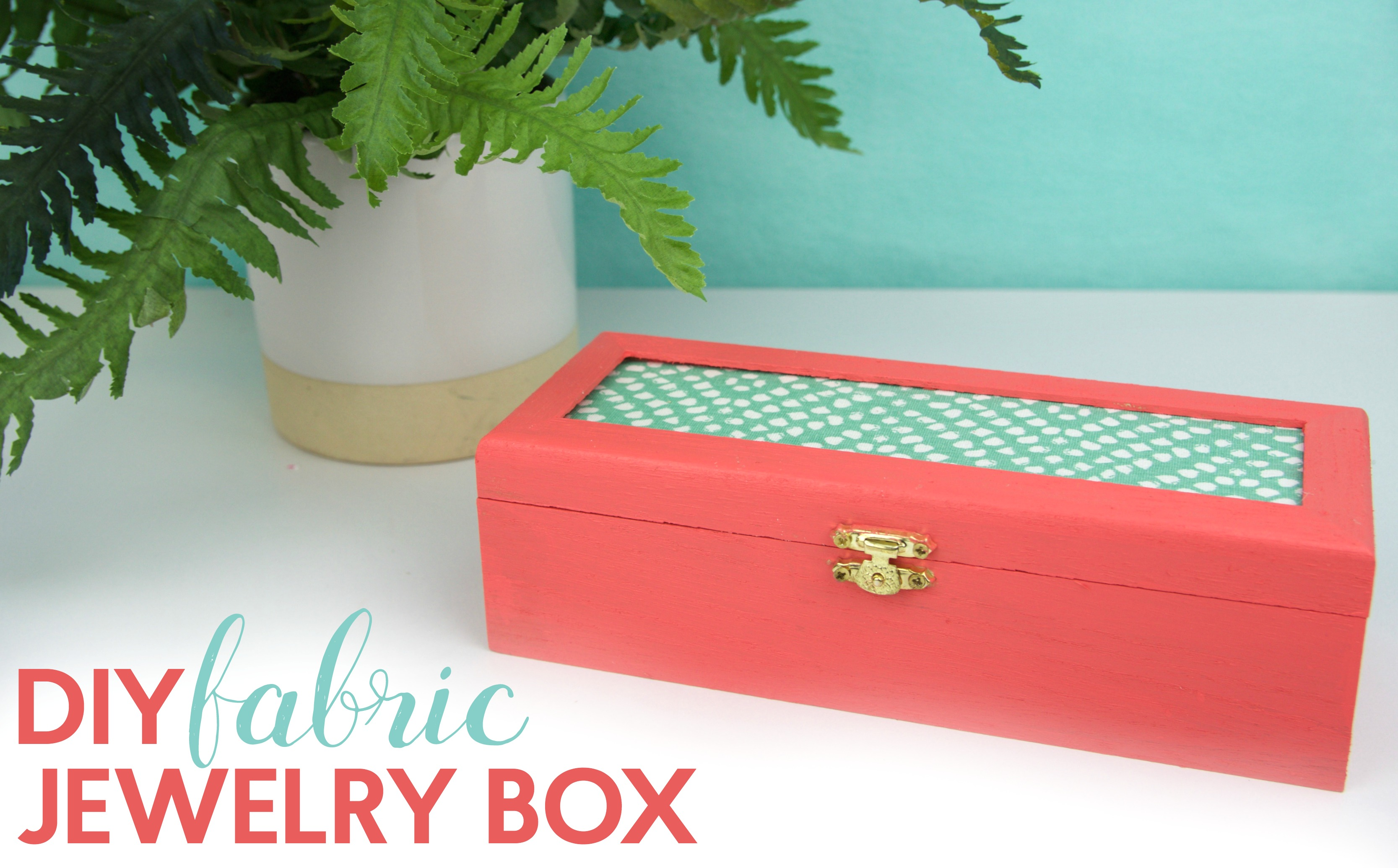 Diy fabric jewelry box a little craft in your day wooden jewelry box americana multi surface paint in shrimp paintbrush fabric scrap dap multi purpose glue solutioingenieria Images