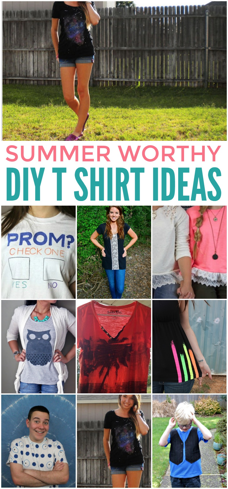 You're sure to love all of these DIY shirt ideas, and it would be a great idea to host a party this summer and have everyone bring over shirts to create.