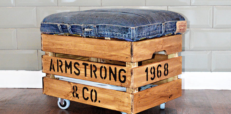 Personalized DIY Ottoman Using Jeans and a Wooden Crate