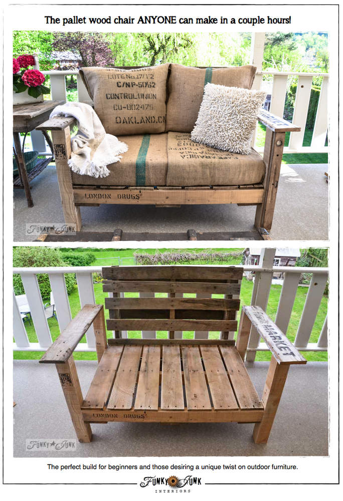 Pallet wood patio chair build