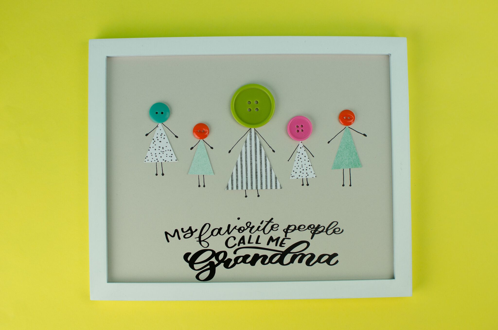 Cricut Grandma Gift Idea Diy Button Art A Little Craft