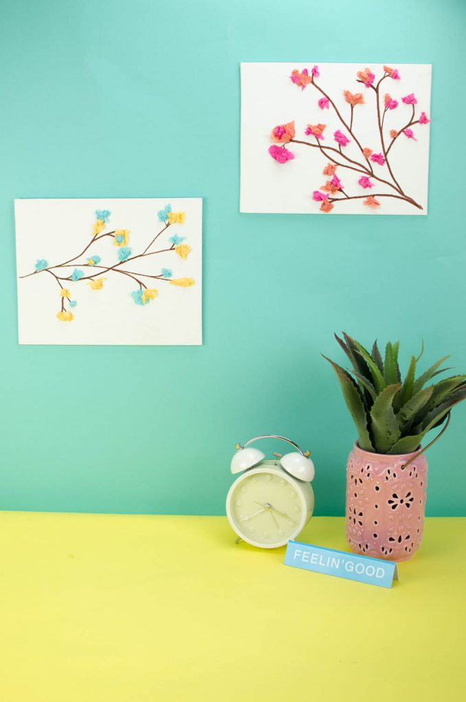 Diy Tissue Paper Flower Canvas A Little Craft In Your Day