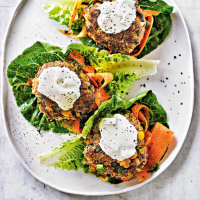 Tikka burgers with carrot salad & tzatziki