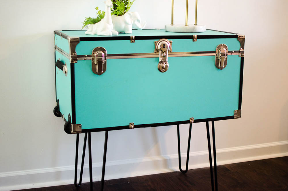 DIY Trunk table, pin legs, how to use pin legs, college trunk diy, mid centry table, diy mid-century modern