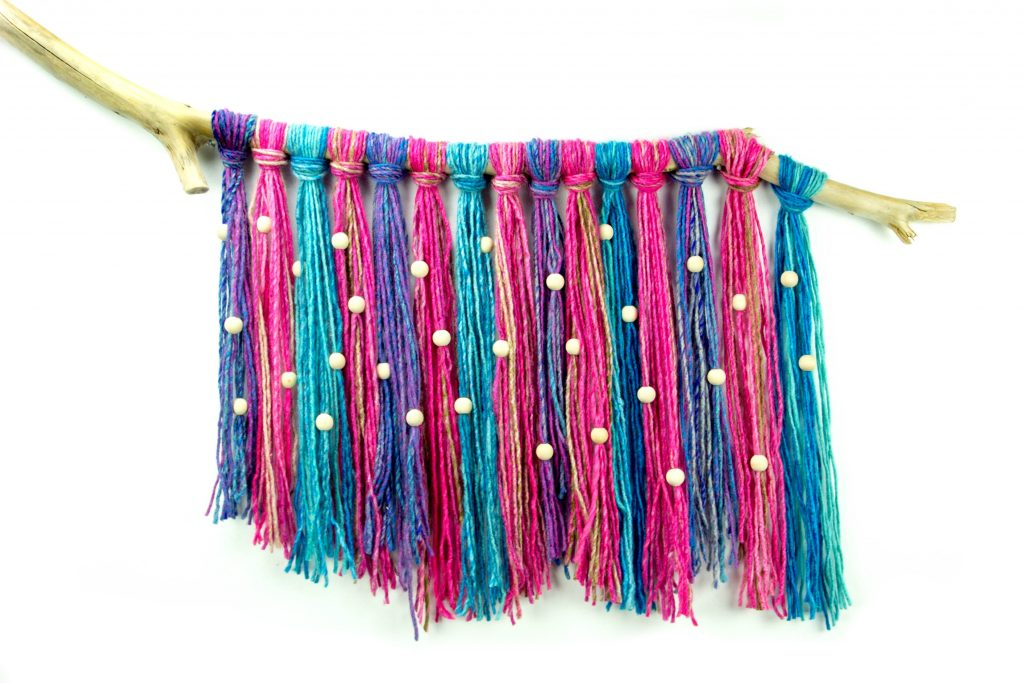 Recycled Beaded Yarn Wall Hanging