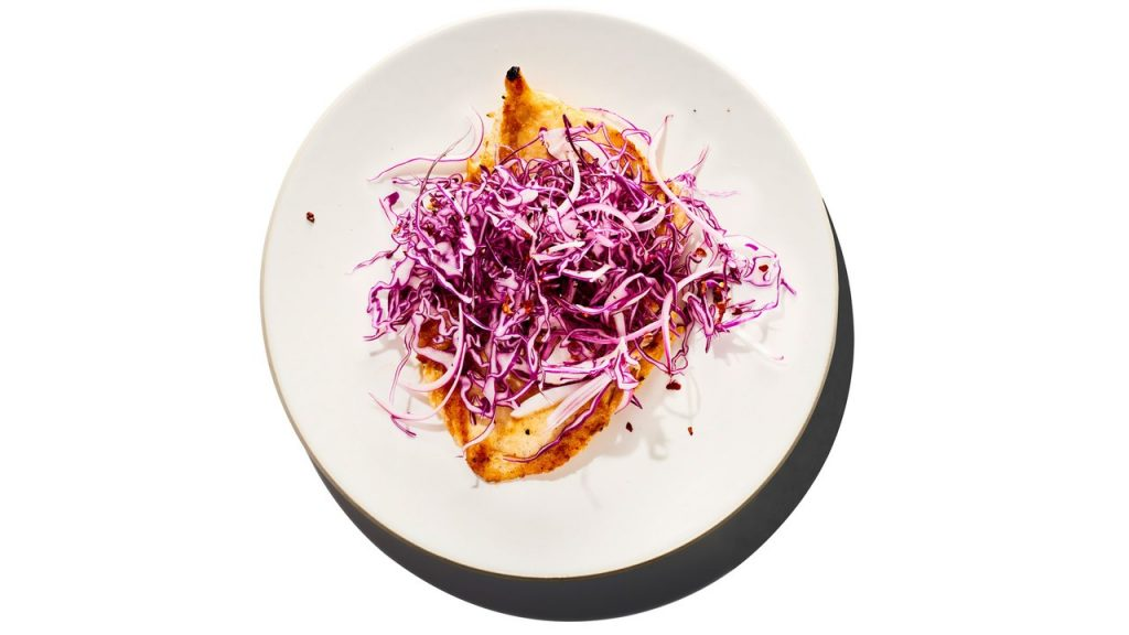 15-Minute Chicken Paillards with Red Cabbage and Onion Slaw