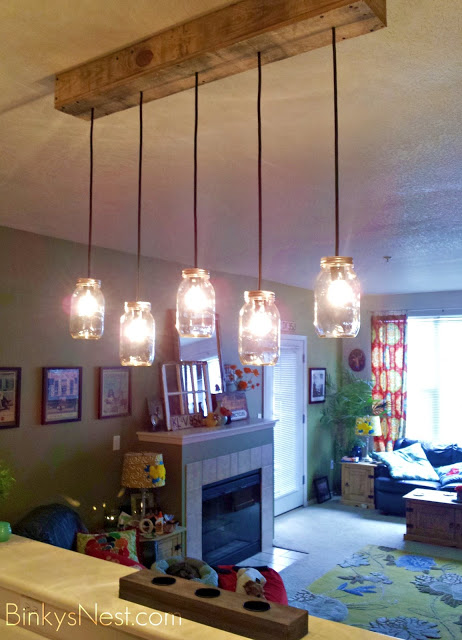 Mason Jar & Rustic Pallet Light Fixture DIY
