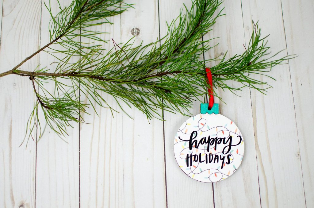 Happy Holidays Print and Cut and Vinyl Ornament