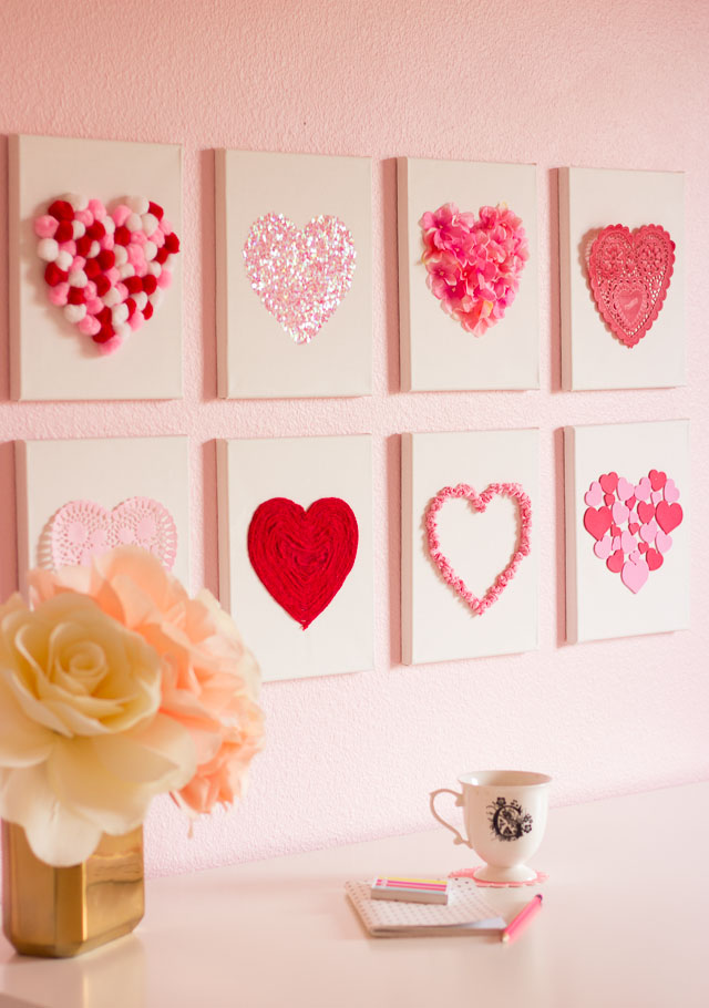 Valentine's Day DIY Canvas Heart Art